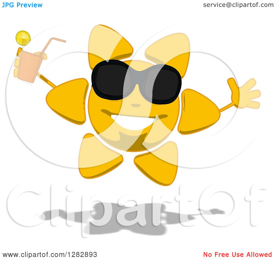 cd2c4fedb8 Clipart of a Cartoon Sun Character Wearing Shades