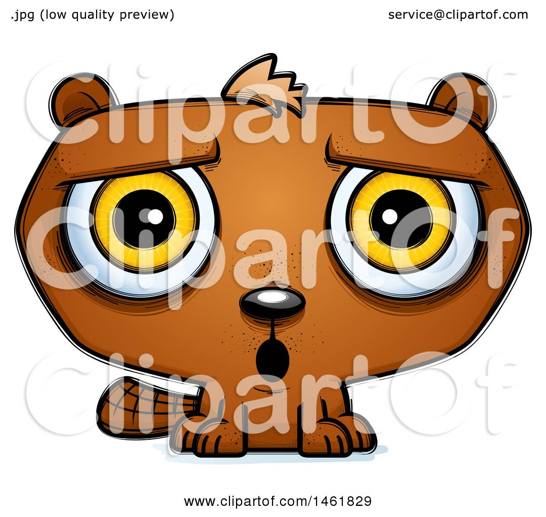 clipart of a cartoon surprised evil beaver royalty free vector