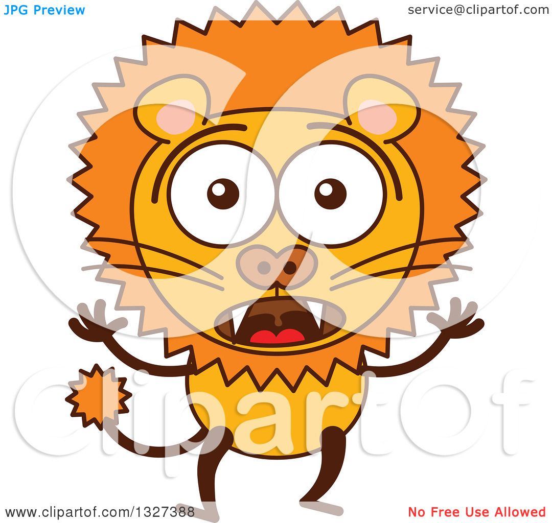 clipart of a cartoon surprised male lion royalty free vector