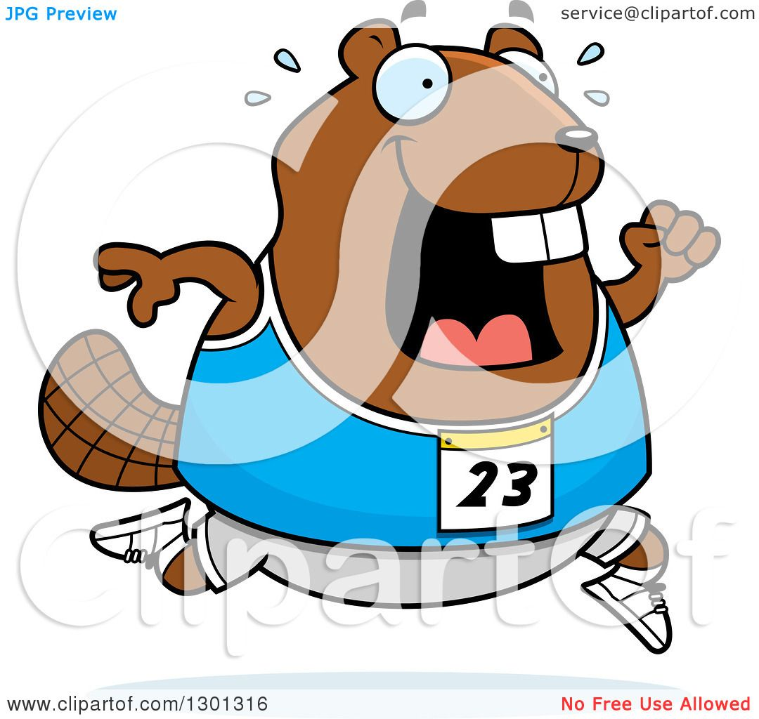 Clipart of a Cartoon Sweaty Chubby Beaver Running a Track and Field ...
