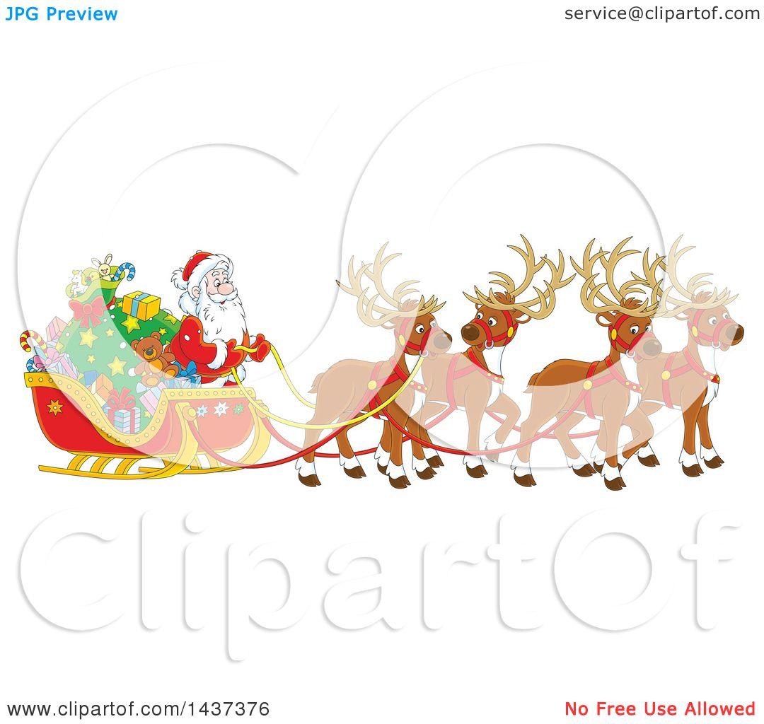 Clipart Of A Cartoon Team Magic Christmas Reindeer Ulling Santa In Sleigh
