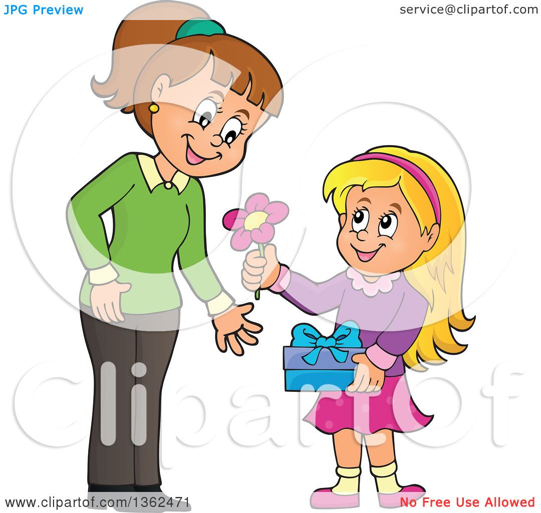 Clipart Of A Cartoon Thoughtful Blond Caucasian Girl Giving Her Mom Flower On Mothers Day