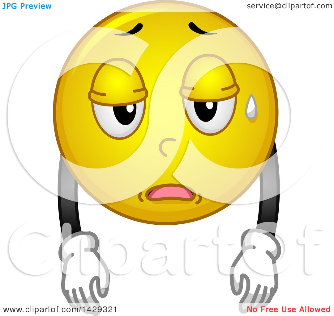 clipart of a cartoon tired yellow emoji smiley face royalty free rh clipartof com Angry Cartoon Face tired looking face cartoon