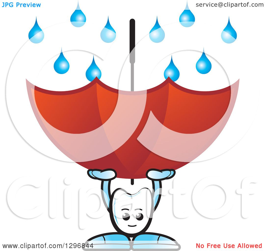 clipart of a cartoon tooth character using an umbrella to
