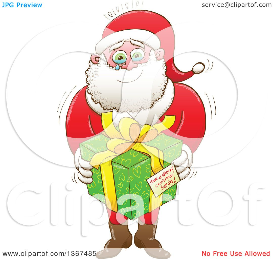 clipart of a cartoon touched santa claus crying and holding a gift