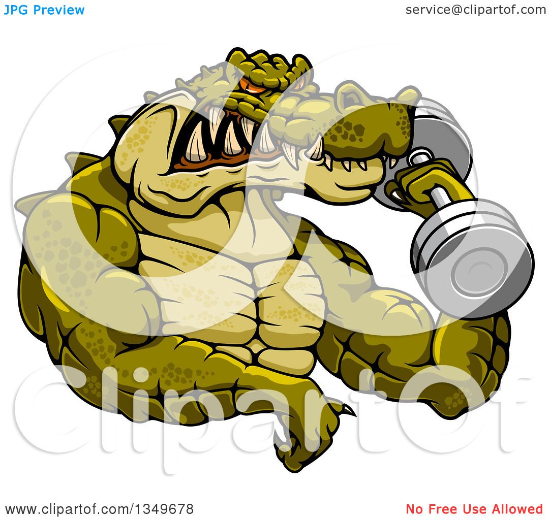 Clipart of a cartoon tough muscular crocodile bodybuilder - Cartoon body builder ...