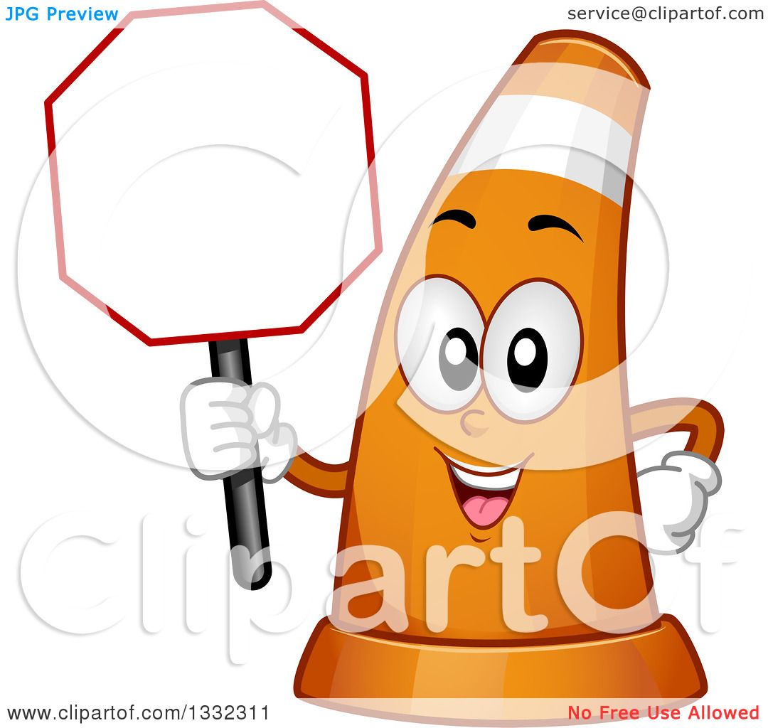 Clipart of a Cartoon Traffic Cone Character Holding a ...