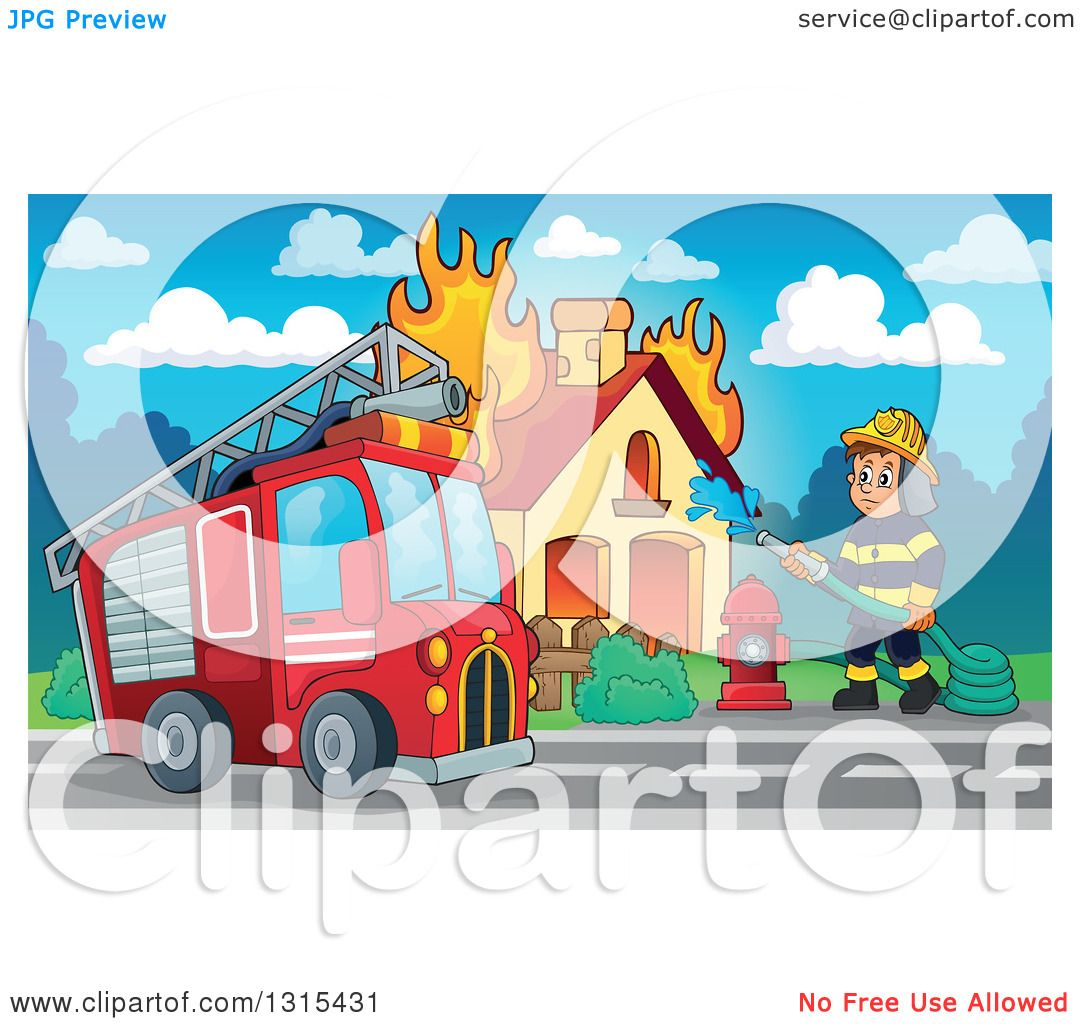 Clipart Of A Cartoon Truck And A White Male Fireman Using