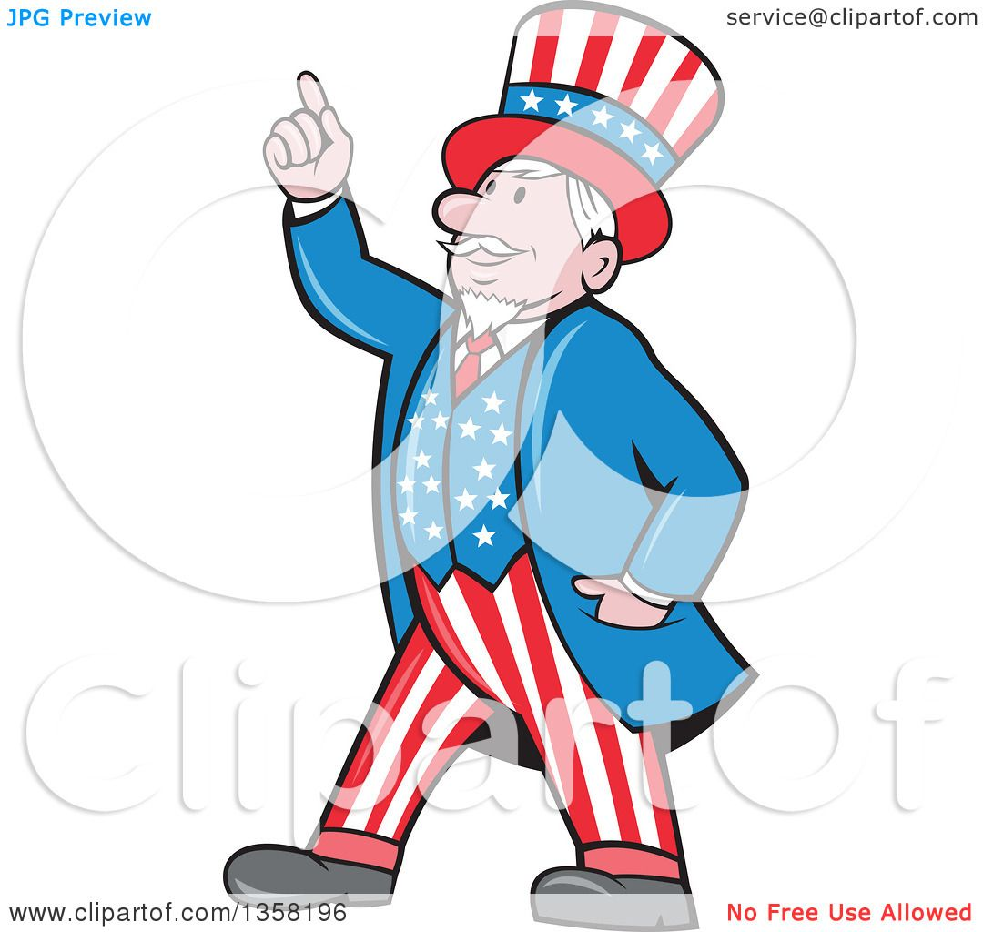 clipart of a cartoon uncle sam in an american patiotic suit holding rh clipartof com