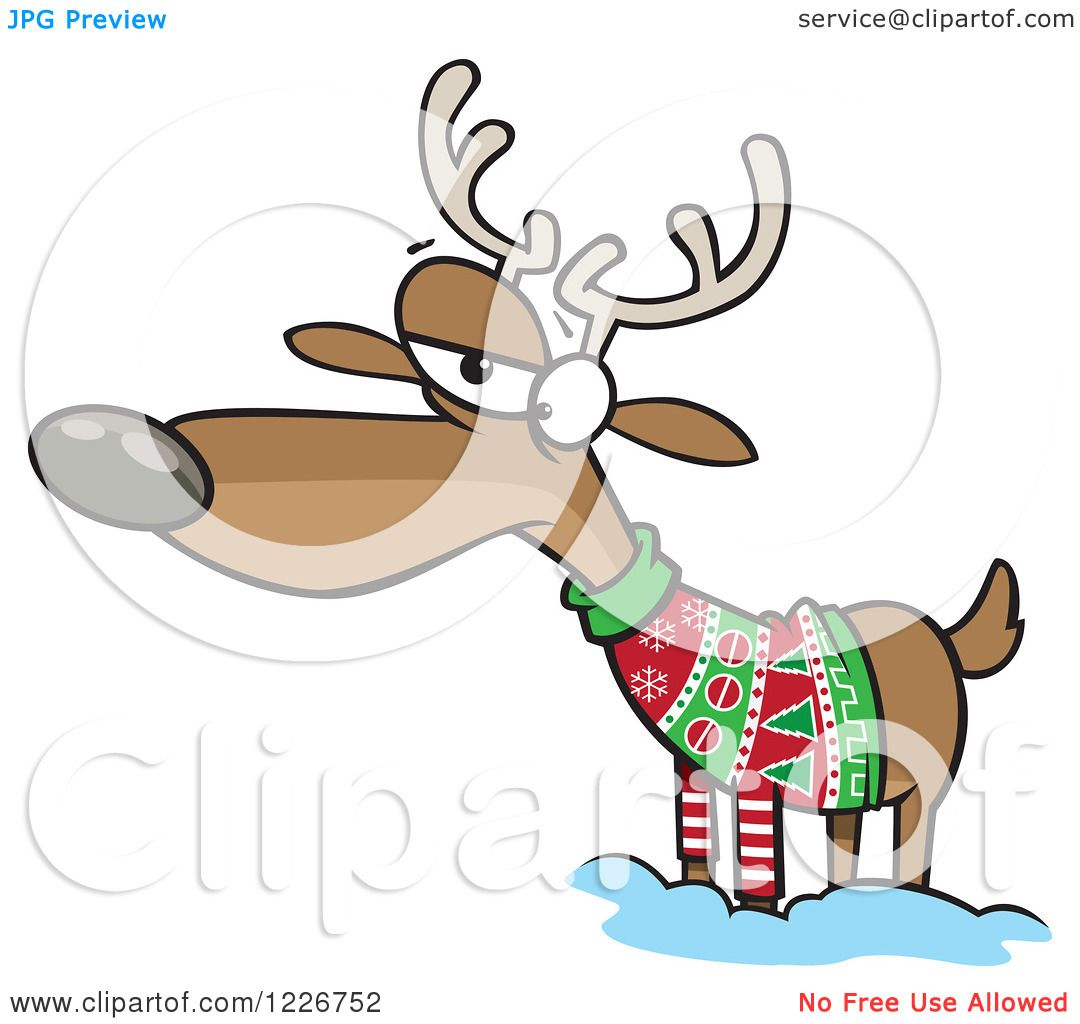 Clipart of a Cartoon Unhappy Reindeer in an Ugly Christmas Sweater ...