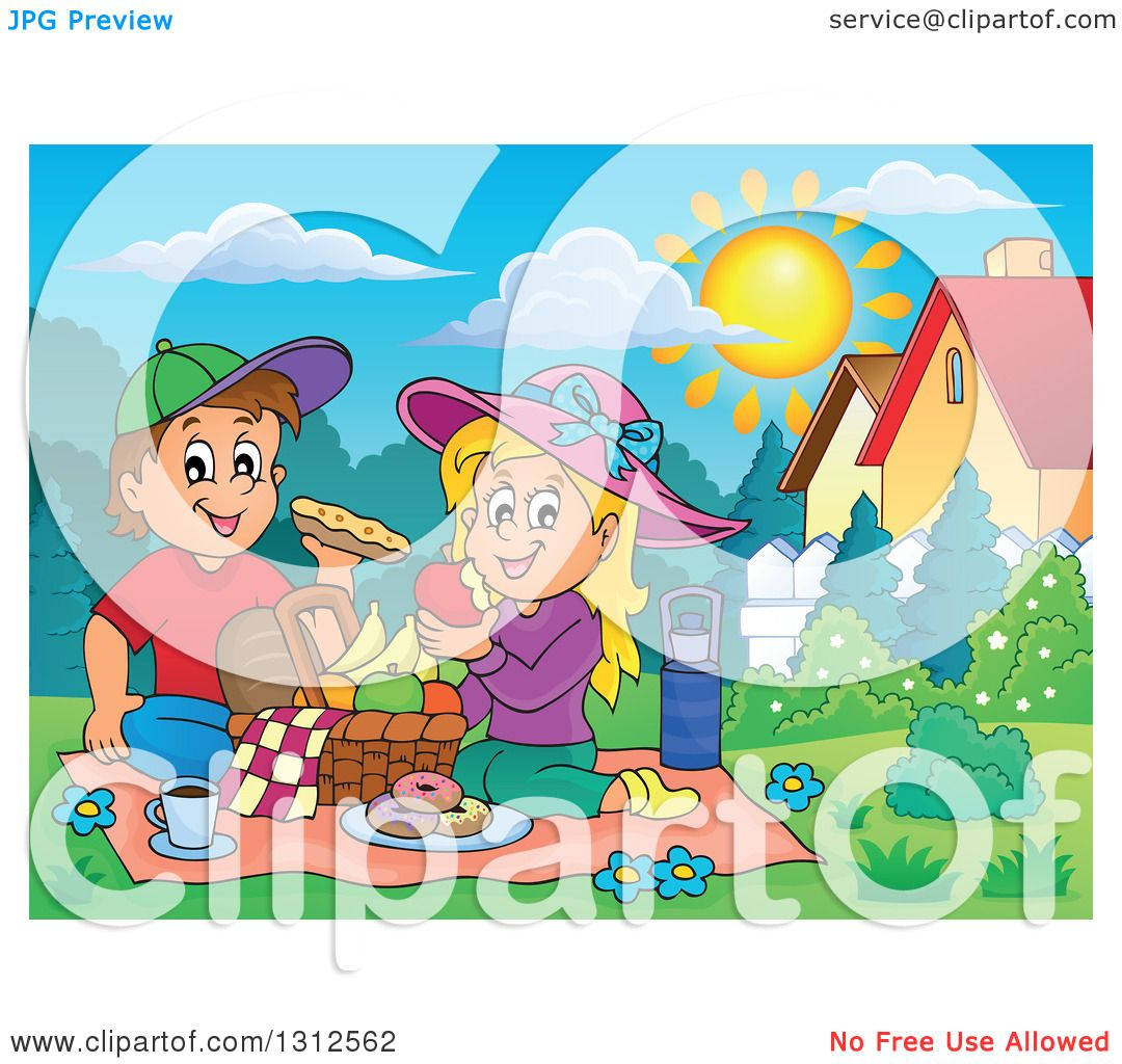 Clipart of a Cartoon White Boy and Girl Eating at a Picnic ...