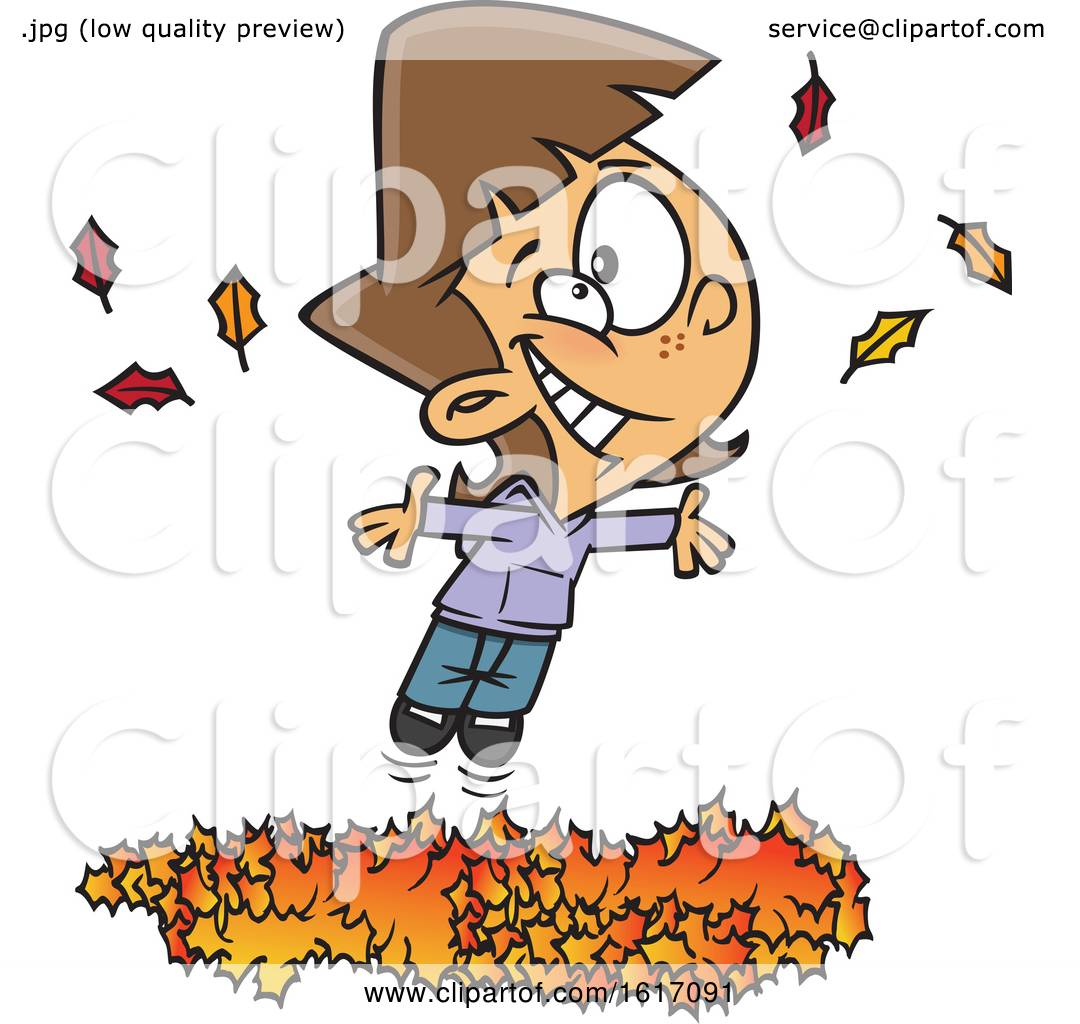 Clipart Of A Cartoon White Girl Playing In A Pile Of Autumn Leaves Royalty Free Vector Illustration By Toonaday 1617091