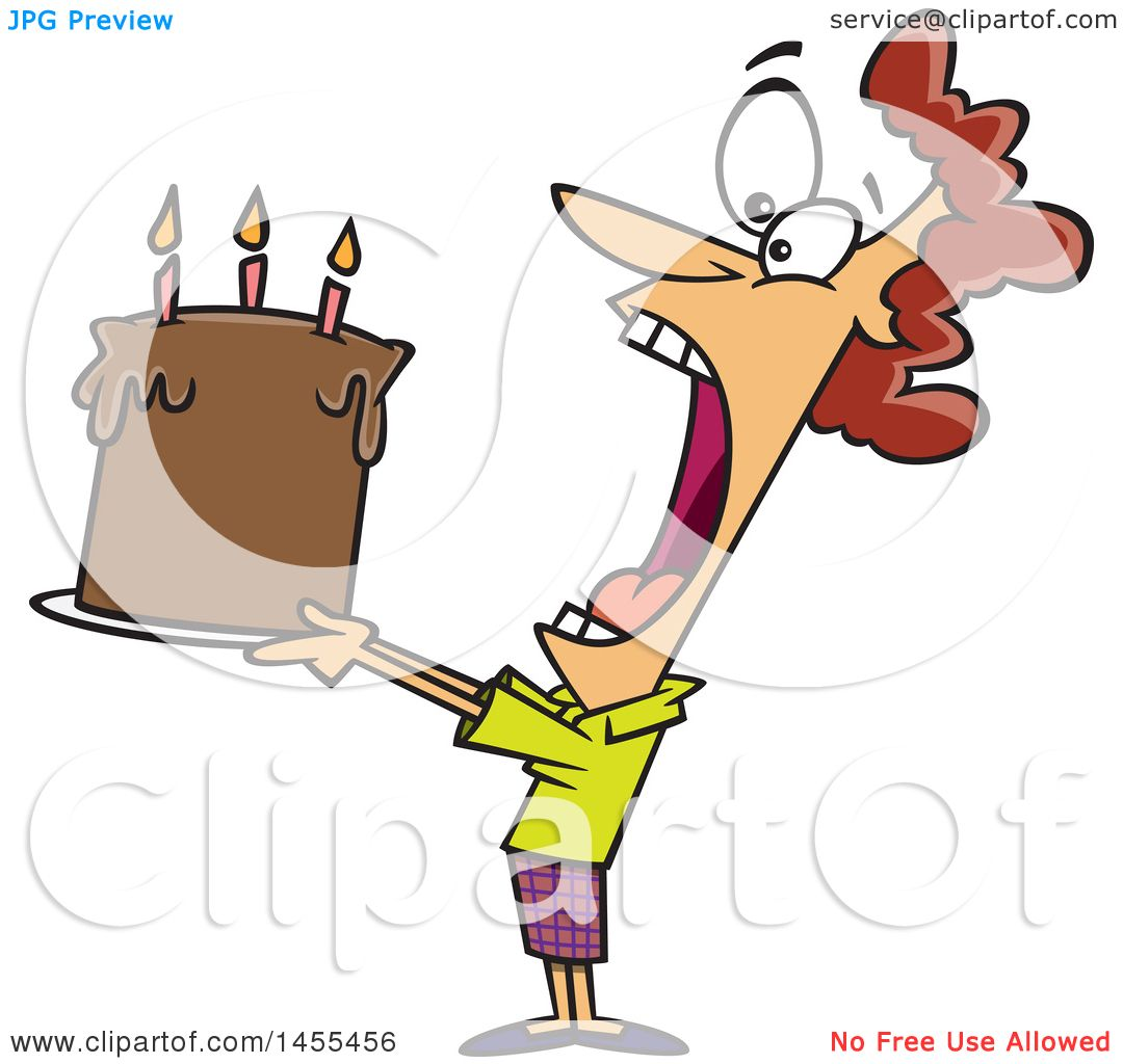 Clipart Of A Cartoon White Lady Swallowing An Entire Birthday Cake