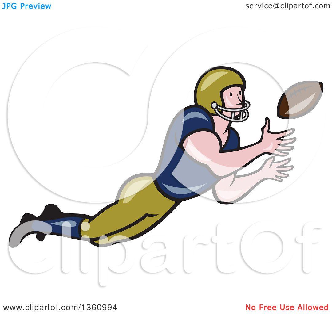cartoon football player catching