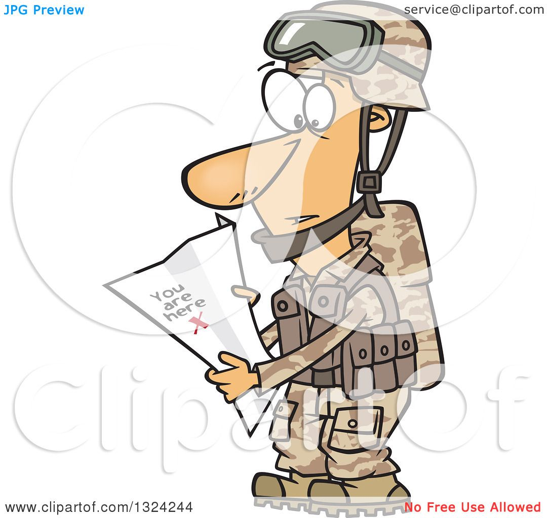 Clipart of a Cartoon White Male Army Soldier Reading a Map ...