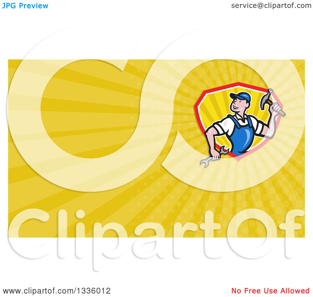Clipart of a Cartoon White Male Builder with Tools and Yellow Rays ...
