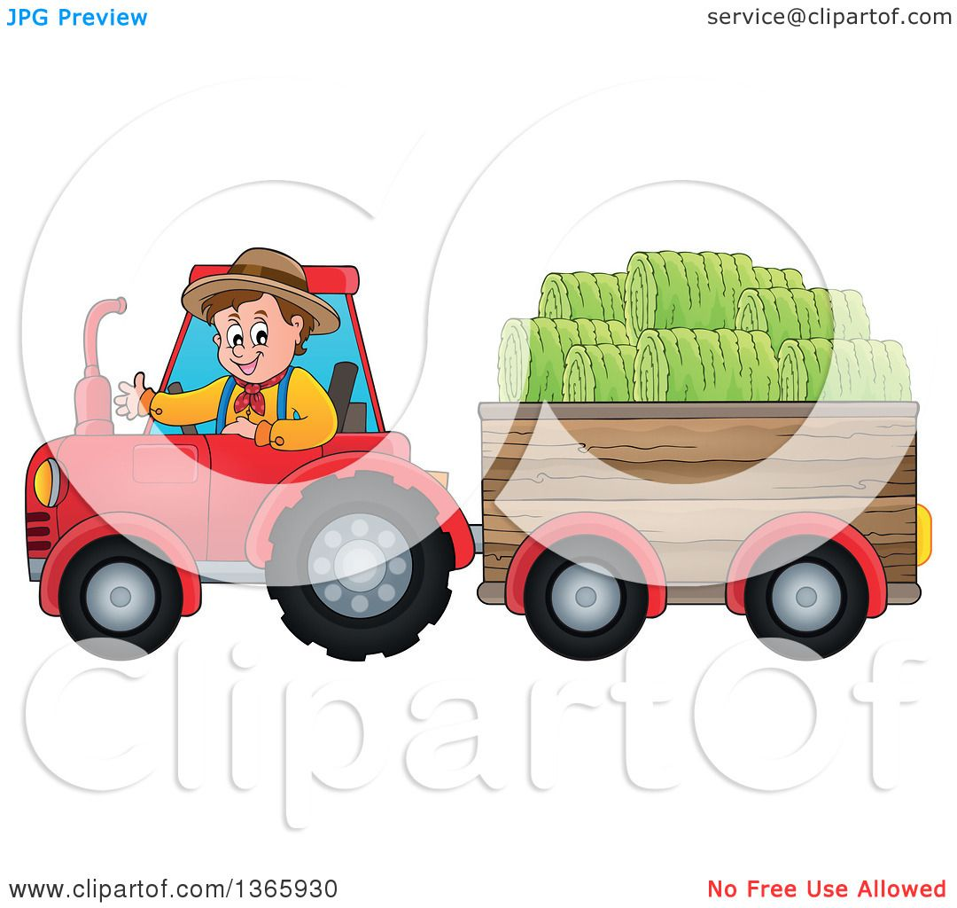 Tractor Cart Clip Art : Clipart of a cartoon white male farmer driving tractor