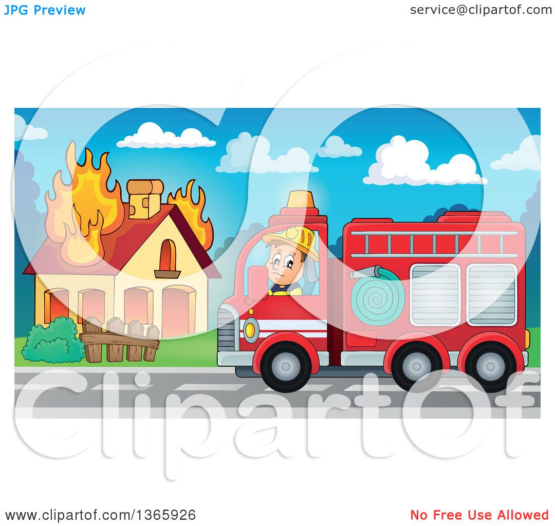 Clipart Of A Cartoon White Male Fireman Driving A Fire