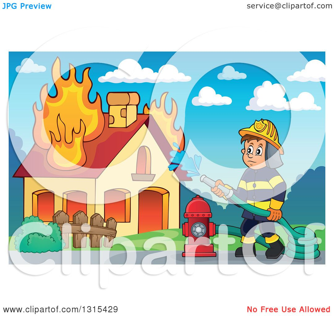 Clipart Of A Cartoon White Male Fireman Using A Hose Connected To A