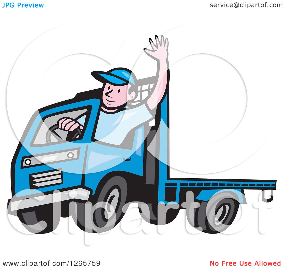 Clipart of a Cartoon White Male Flatbed Truck Driver Waving ...