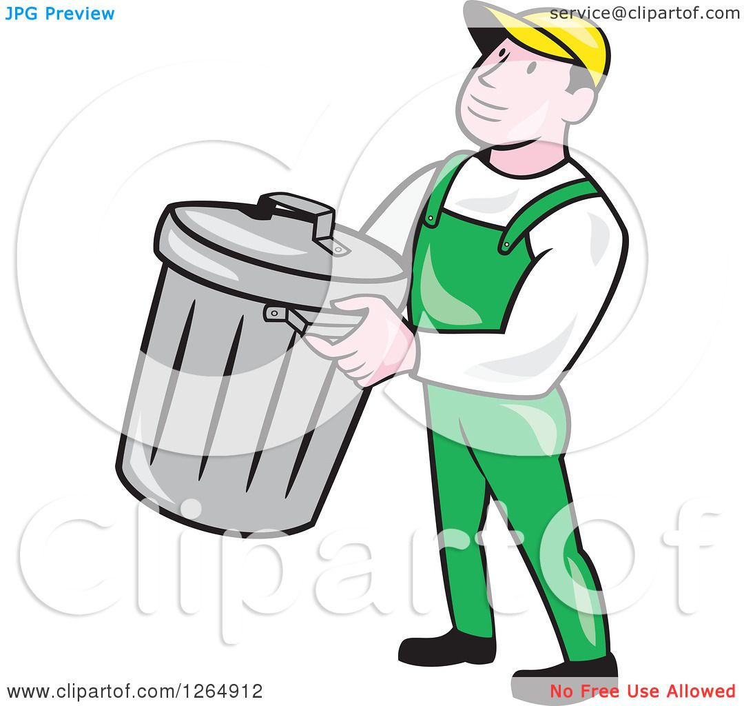 clipart of a cartoon white male garbage man carrying a bin royalty rh clipartof com