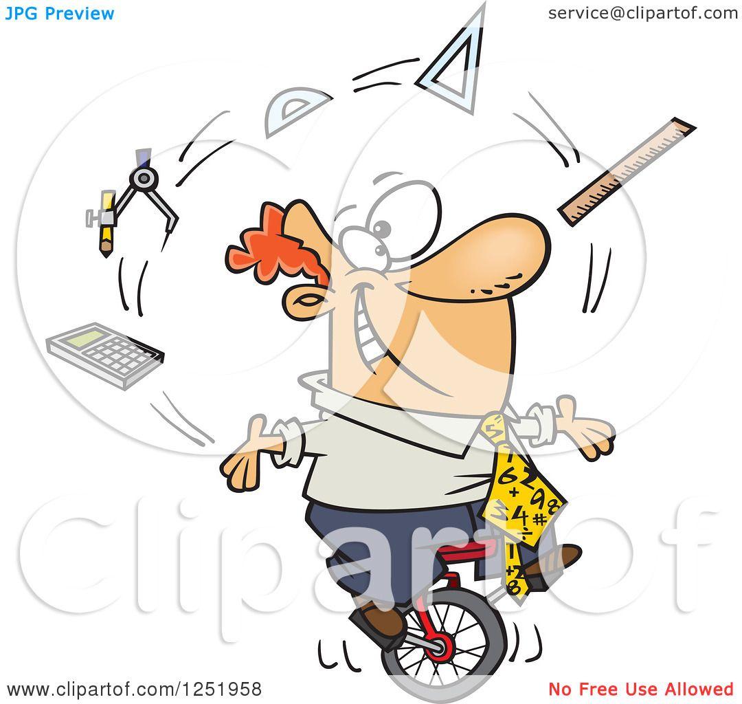 clipart of a cartoon white male math teacher juggling on a