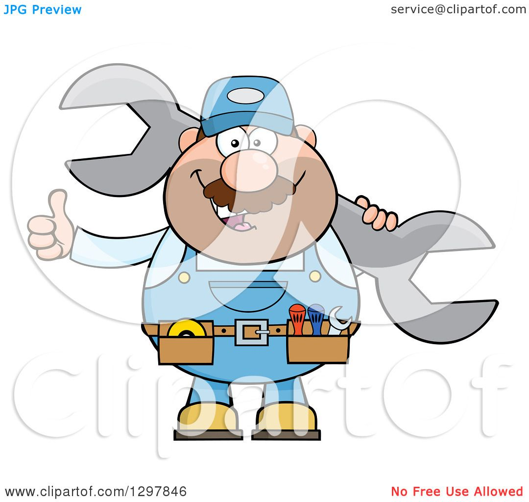 Clipart of a Cartoon White Male Mechanic Wearing a Tool Belt ...