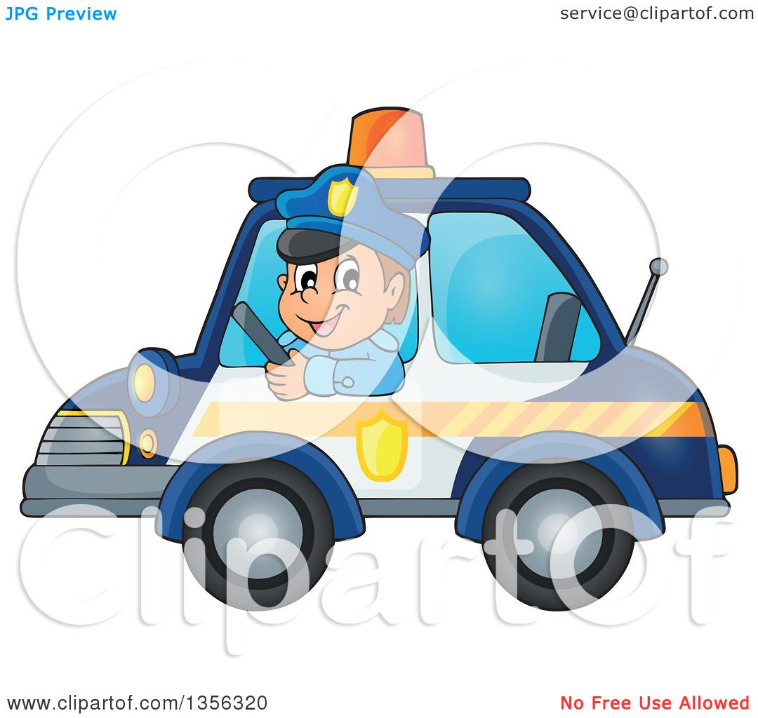 clipart of a cartoon white male police officer driving a car