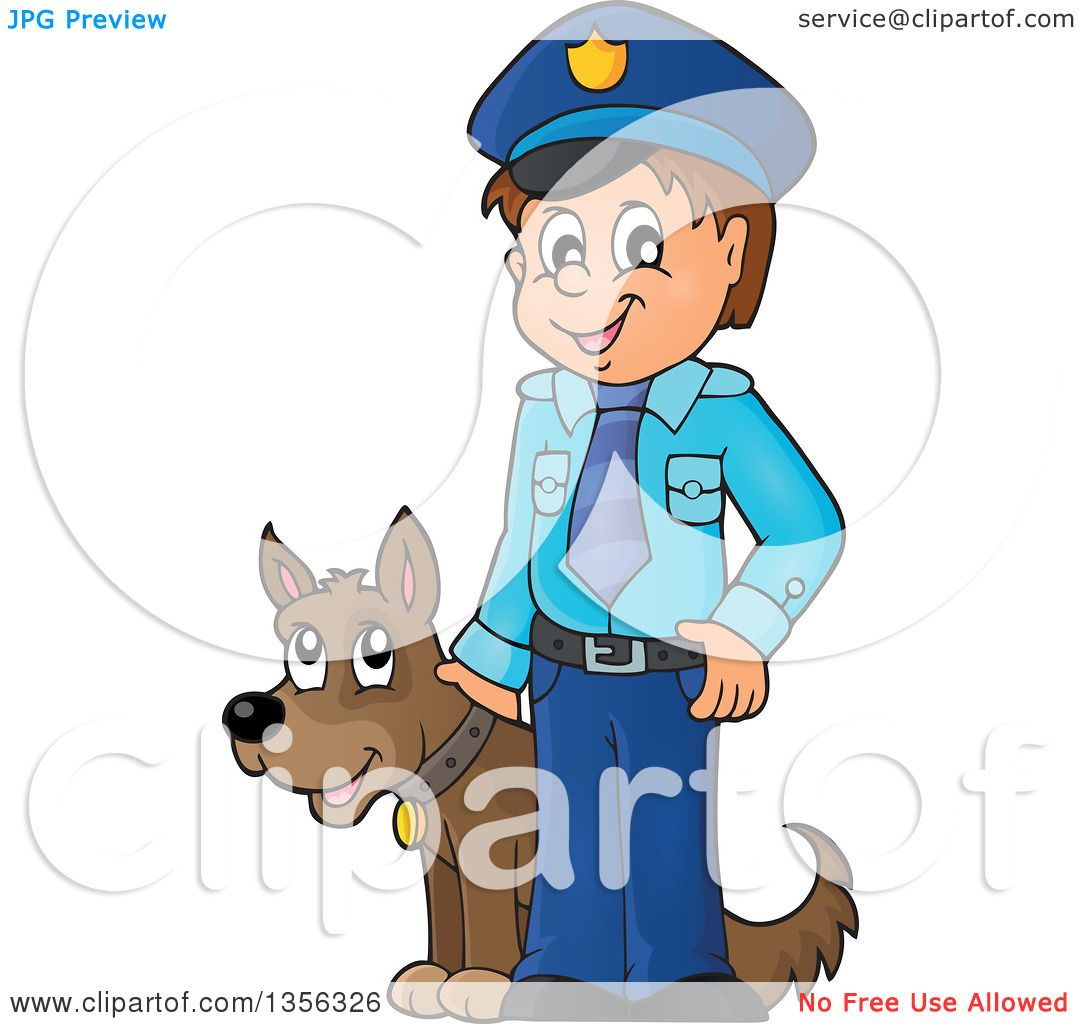 clipart of a cartoon white male police officer with a dog