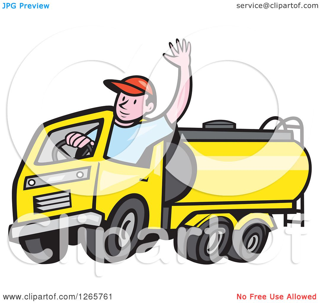 clipart of a cartoon white male tanker truck driver waving - royalty