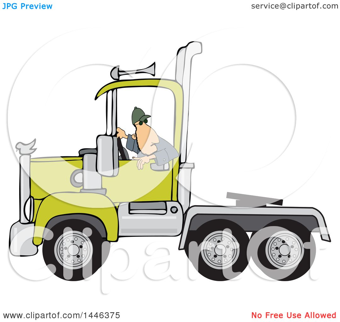 clipart of a cartoon white male truck driver backing up a Semi Truck Line Art Semi Truck Clip Art Black and White