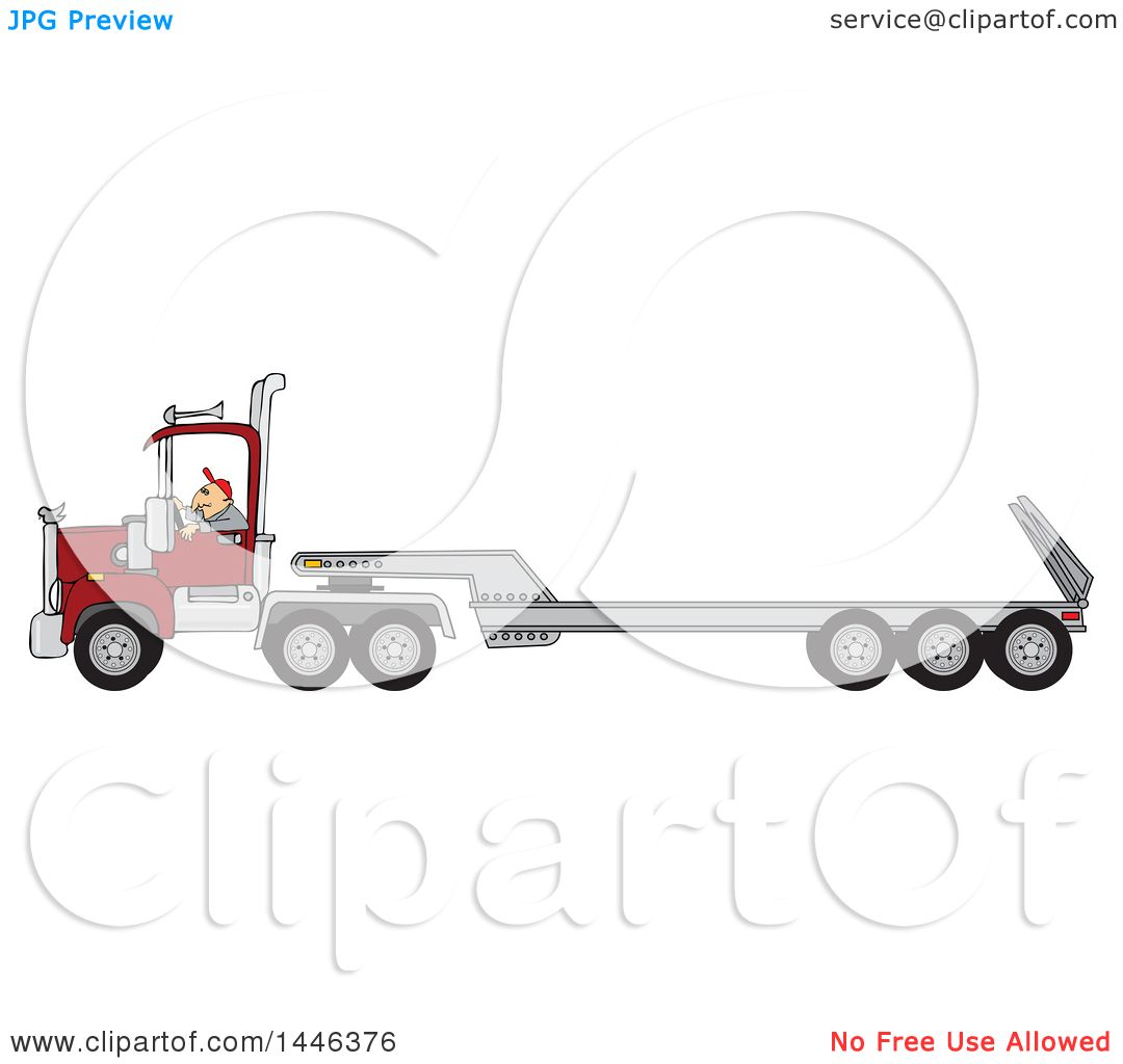 Anatomy Of A Semi Trailer : Clipart of a cartoon white male truck driver operating