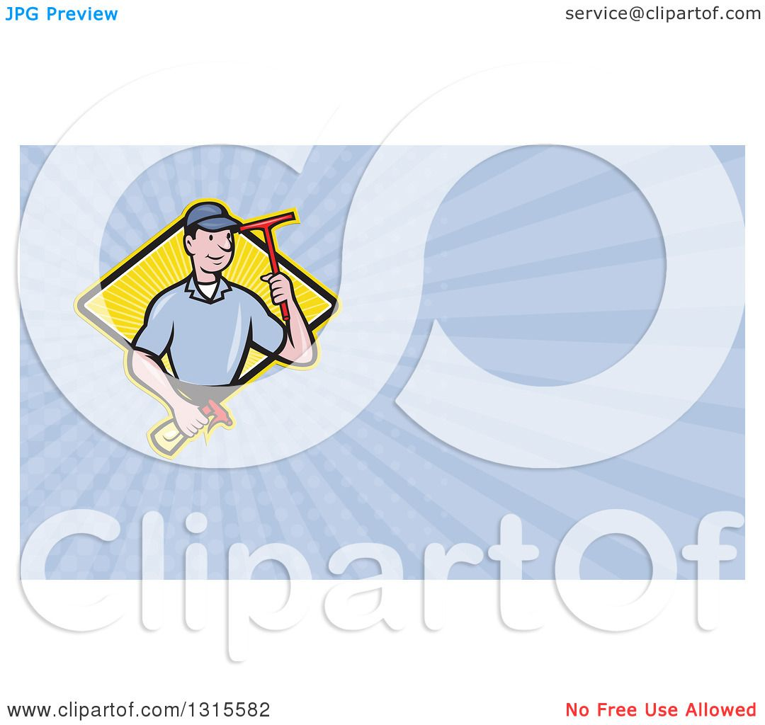Clipart of a Cartoon White Male Window Cleaner Holding a Squeegee ...