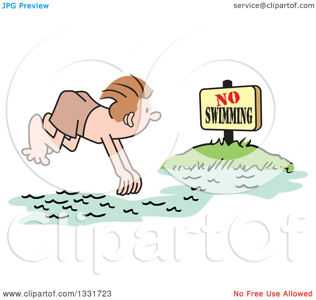 Clipart of a Cartoon White Man Diving into a No Swimming Area ...
