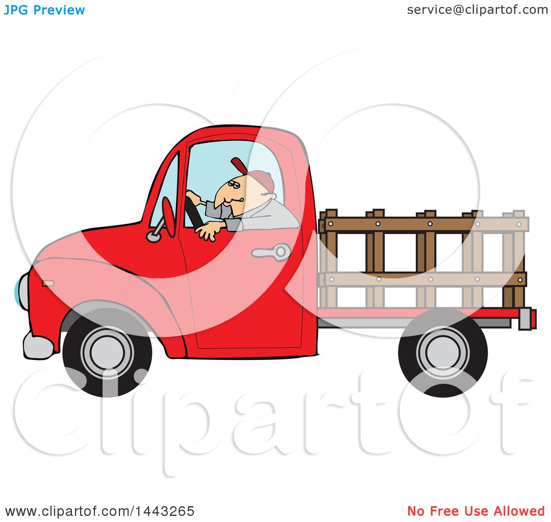 Green truck clipart royalty free rf pickup truck clipart - Clipart Of A Cartoon White Man Driving A Red Pickup Truck With A Stakeside Trailer Royalty