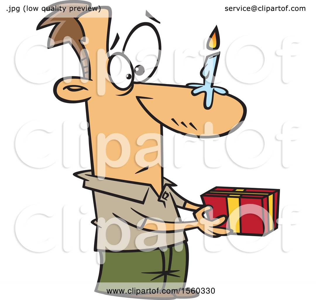 Clipart of a cartoon white man holding a gift with a birthday clipart of a cartoon white man holding a gift with a birthday candle on his nose royalty free vector illustration by toonaday negle Choice Image