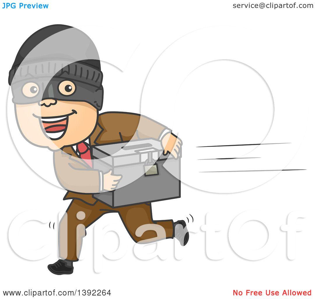 Clipart of a Cartoon White Man Running Away with a Ballot ...