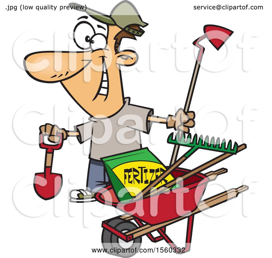 Clipart Of A Cartoon White Man With His Garden Tools And