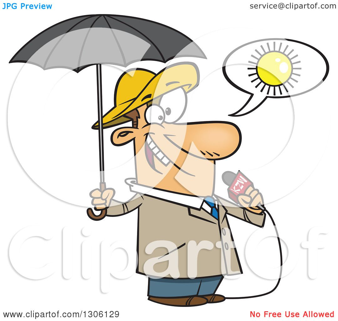 Clipart of a Cartoon White  Weatherman Clipart
