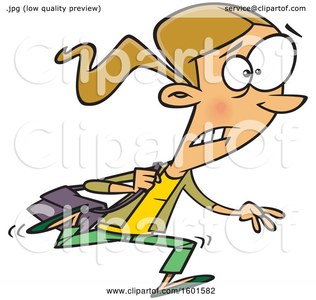 Clipart Of A Cartoon White Woman Running Late To Class Royalty