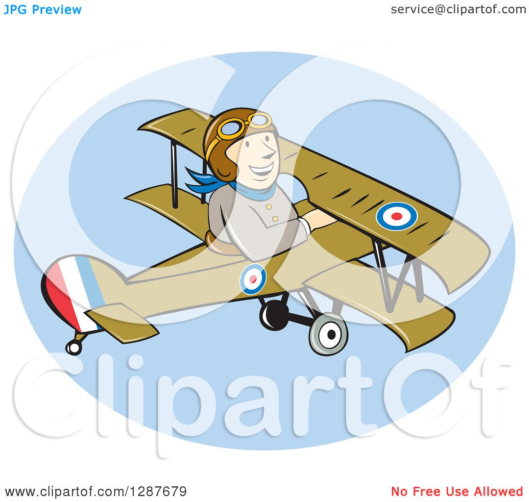 Clipart of a Cartoon Wwi Male British Airforce Pilot in a Sopwith ...
