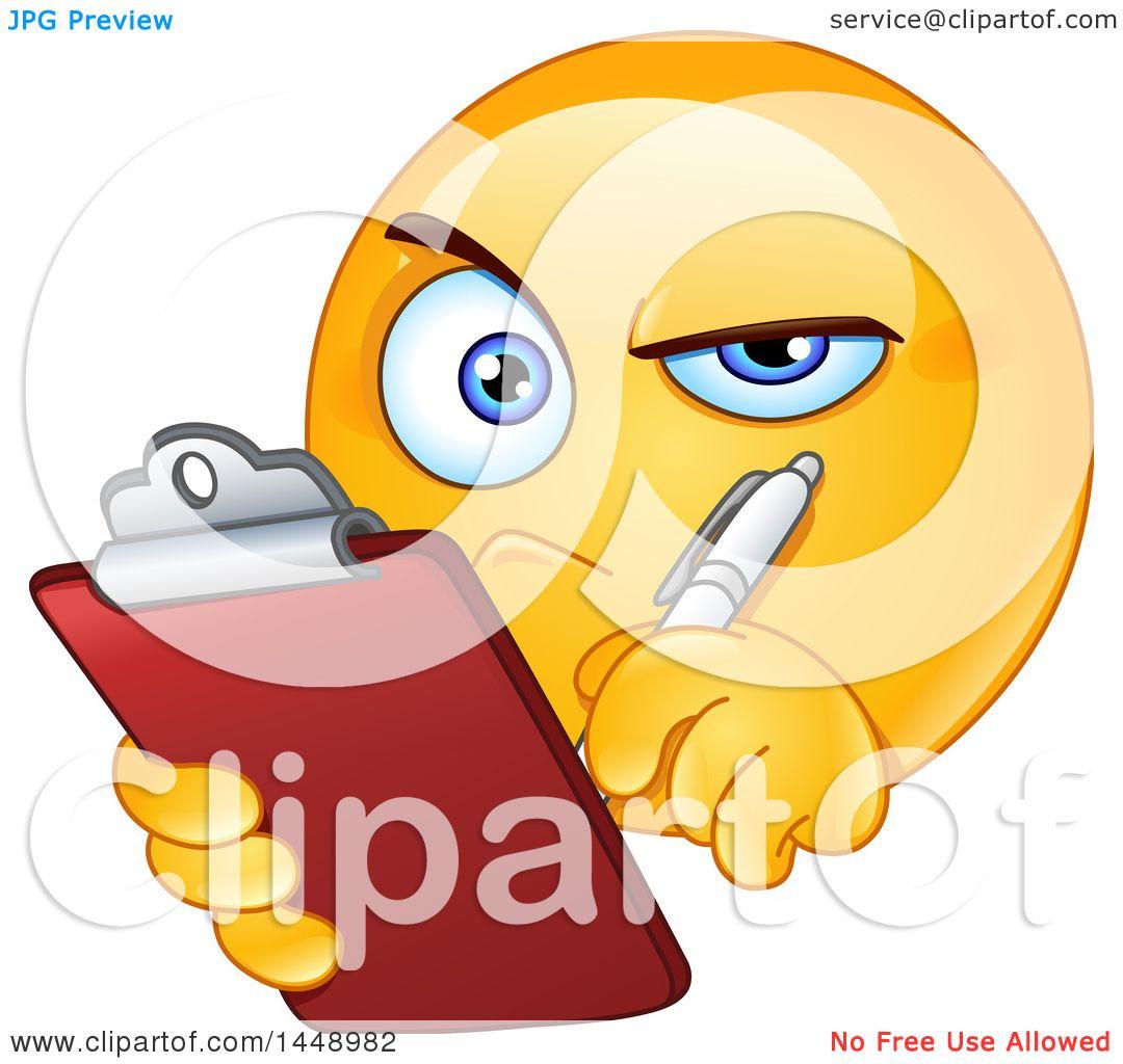 Clipart of a Cartoon Yellow Emoji Smiley Face Emoticon