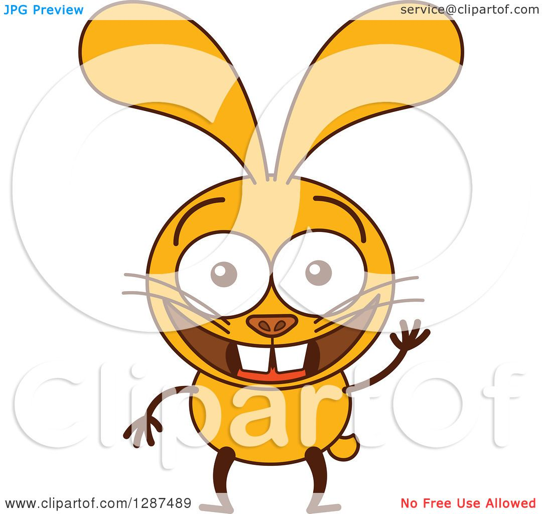 Clipart of a Cartoon Yellow Rabbit Smiling and Waving ...