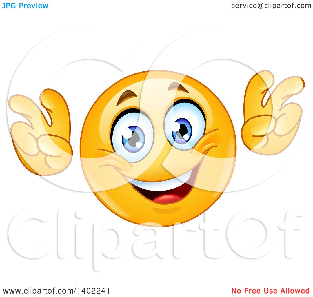Clipart Of A Cartoon Yellow Smiley Face Emoji Emoticon Doing Air Quotes    Royalty Free Vector Illustration By Yayayoyo