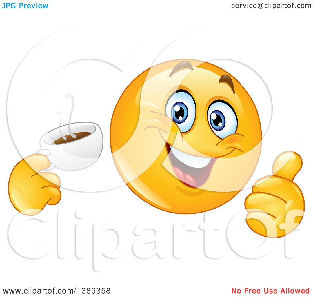 clipart of a cartoon yellow smiley face emoji emoticon holding a cup rh clipartof com Woman Thumbs Up Sarcastic Thumbs Up Meme