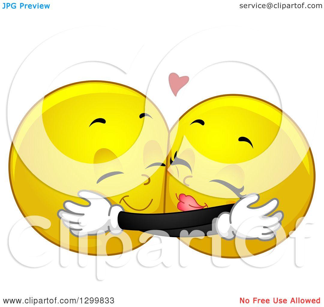 Clipart Of A Cartoon Yellow Smiley Face Emoticon Couple Hugging