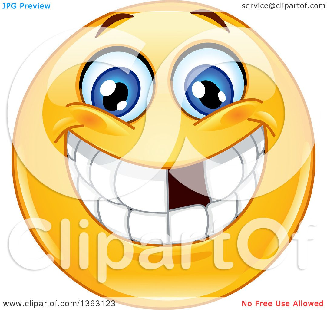 clipart of a cartoon yellow smiley face emoticon emoji grinning and rh clipartof com