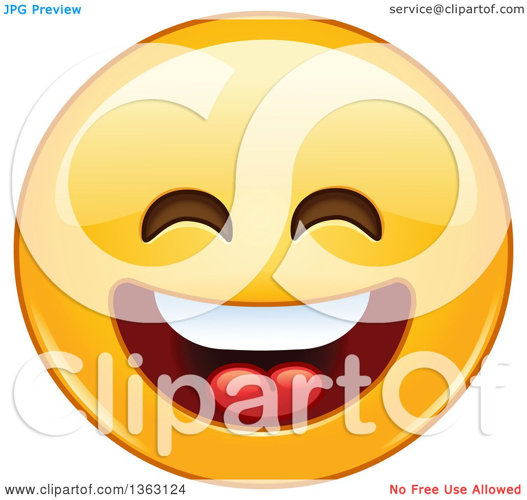 clipart of a cartoon yellow smiley face emoticon emoji laughing rh clipartof com