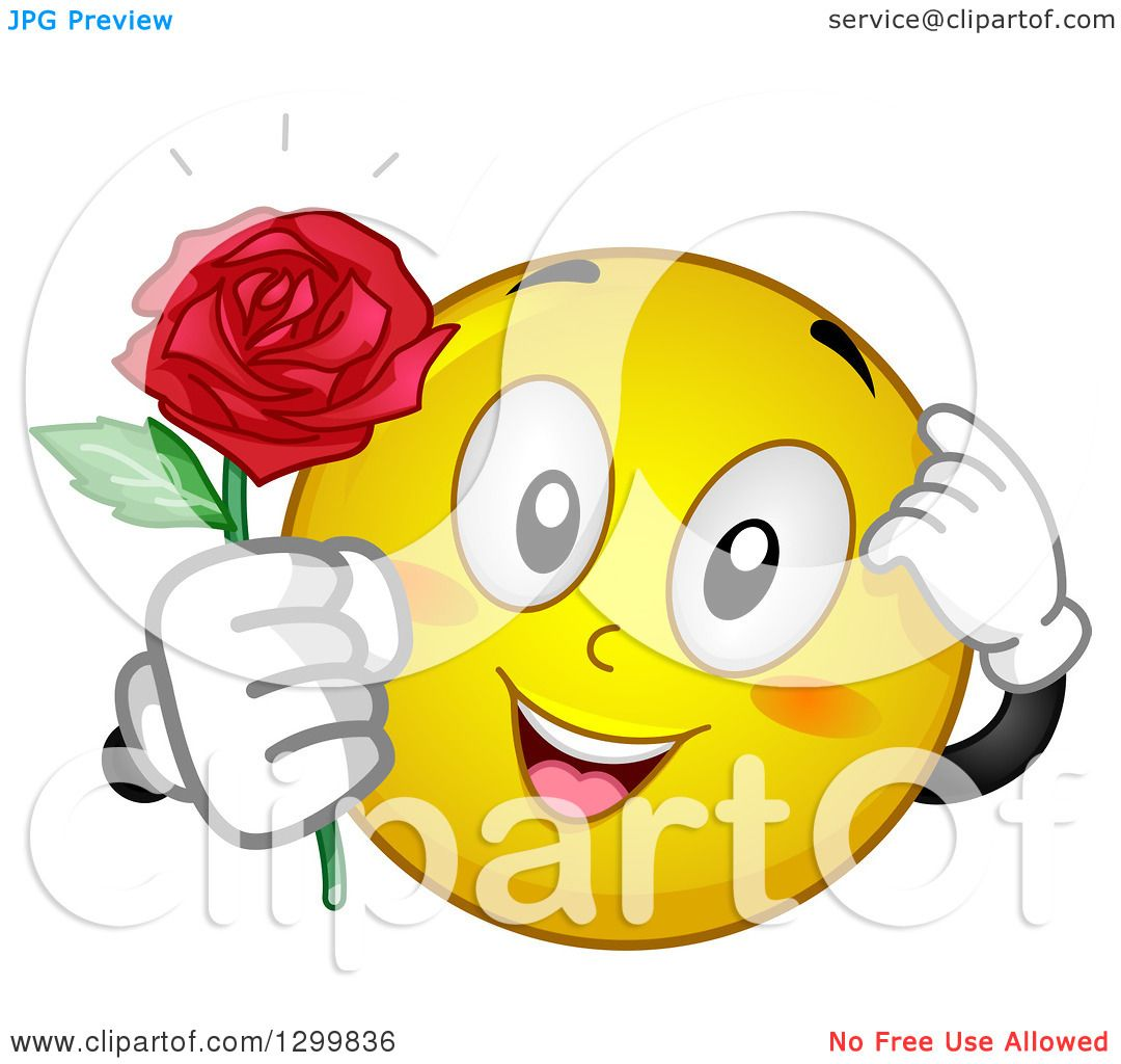 Clipart of a Cartoon Yellow Smiley Face Emoticon Giving a Rose Royalty Free