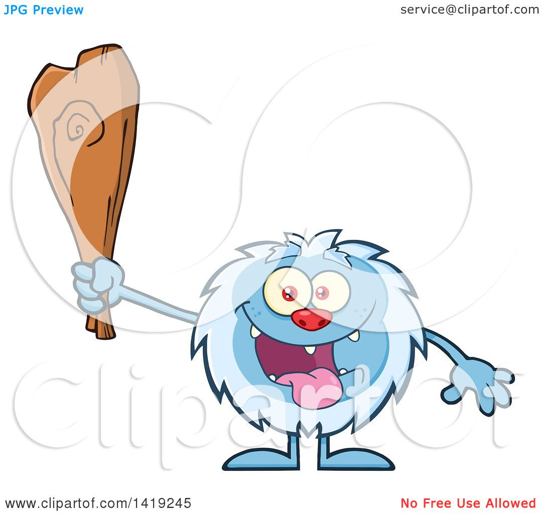 Clipart of a Cartoon Yeti Abominable Snowman Holding a Club ...